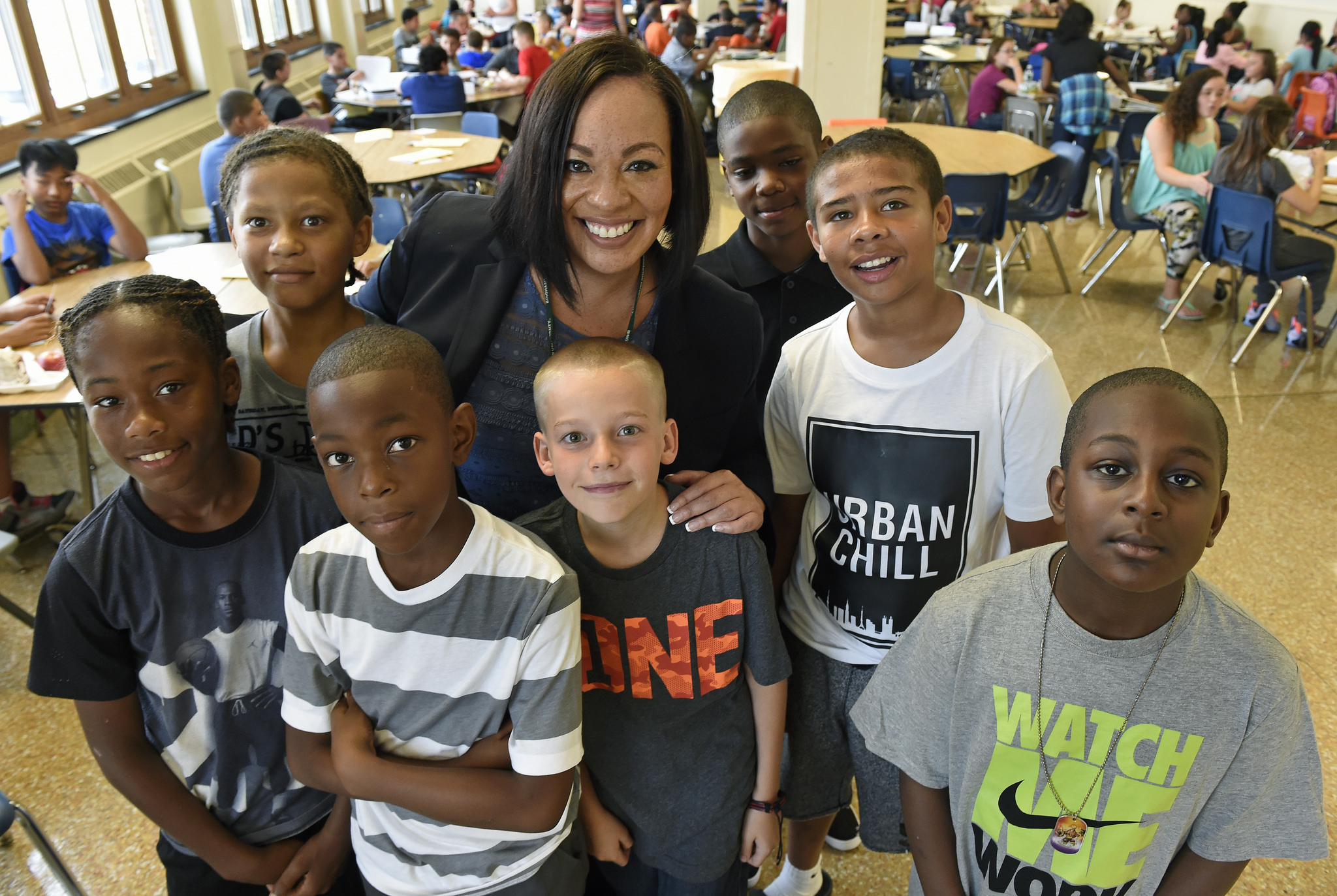 A teacher and her students at Grant Middle School in Syracuse, NY