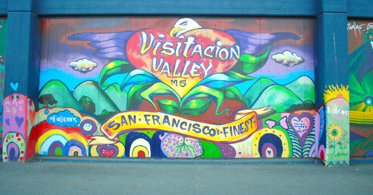 Mural on a wall at Visitacion Valley Middle School