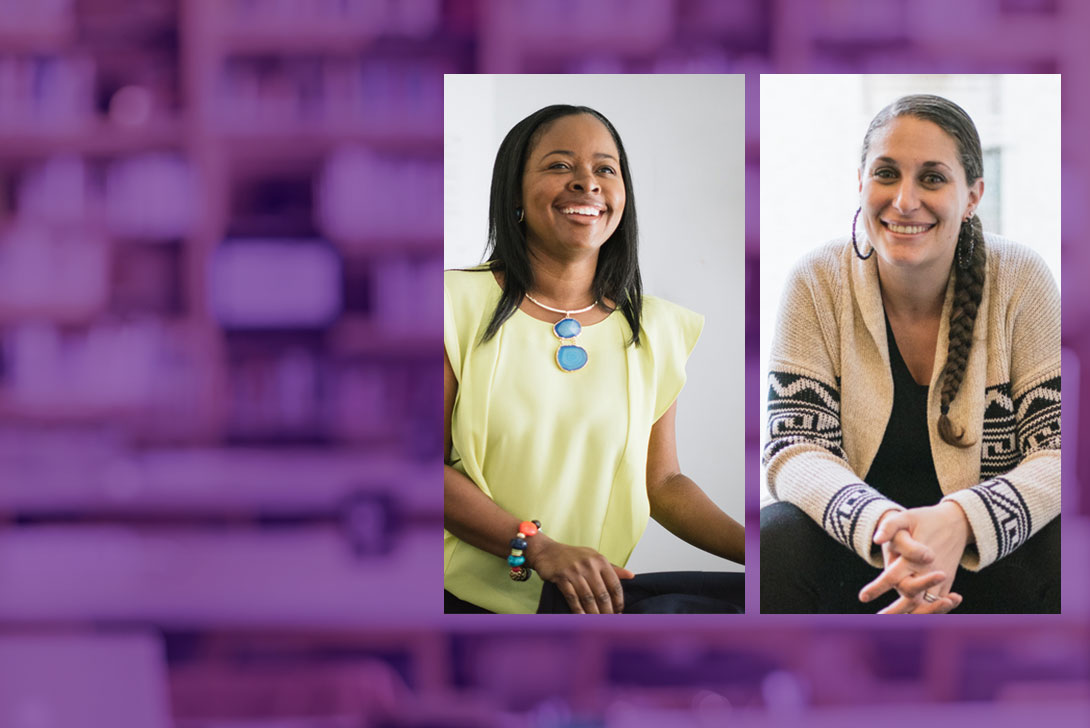 Image of Professor Ayanna Taylor and Professor Heather Woodley on a purple background