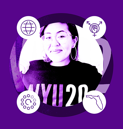 NYU Teacher Resident Stephanie Melendez with four icons representing her advocacy work, residency site state of Florida, community organizer experience, and history content area.