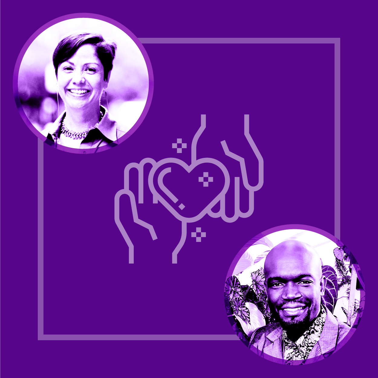 NYU Steinhardt faculty leads for Special Education Tamara Sewell and Shane-Anthony Smith are pictured alongside two hands with a heart.
